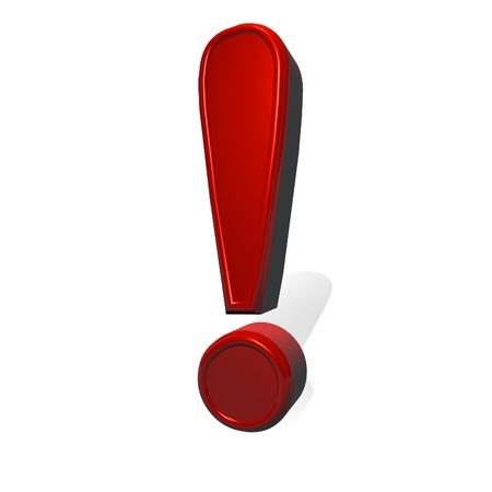 point of interest: Exclamation point sign in red metal material, 3d render, isolated over white, square image Stock Photo