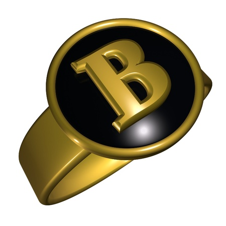 gold ring: B letter over black and gold ring, 3d render, square image, isolated over white
