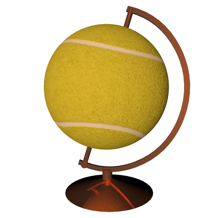 square image: Tennis globe isolated over white background, 3d render, square image Stock Photo