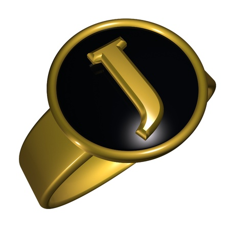 gold ring: J letter over black and gold ring, 3d render, square image, isolated over white