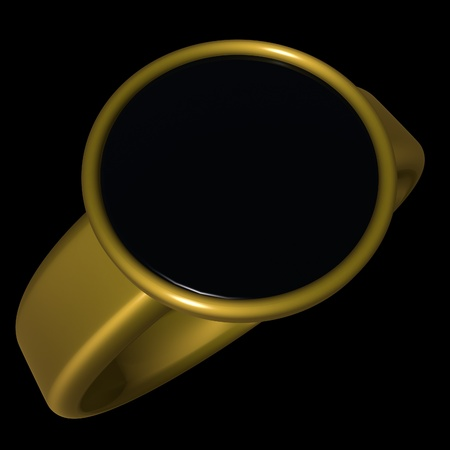 gold ring: Black and gold ring, 3d render, square image, isolated over black Stock Photo