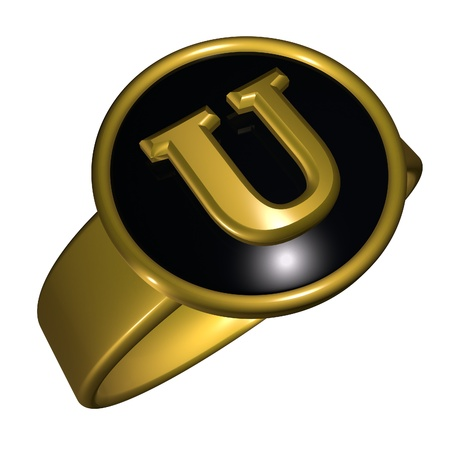 gold ring: U letter over black and gold ring, 3d render, square image, isolated over white Stock Photo