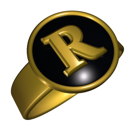 r image: R letter over black and gold ring, 3d render, square image, isolated over white