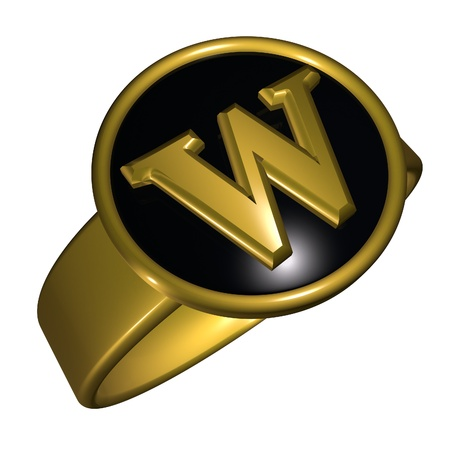 gold ring: W letter over black and gold ring, 3d render, square image, isolated over white
