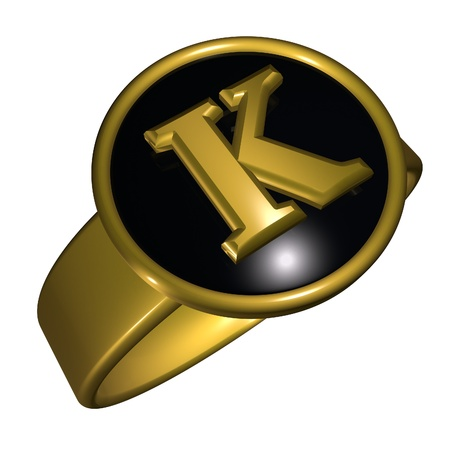 gold ring: K letter over black and gold ring, 3d render, square image, isolated over white