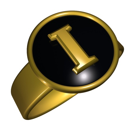 gold ring: I letter over black and gold ring, 3d render, square image, isolated over white Stock Photo