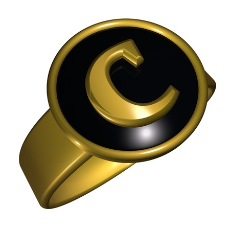 square image: C letter over black and gold ring, 3d render, square image, isolated over white