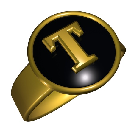 t square: T letter over black and gold ring, 3d render, square image, isolated over white