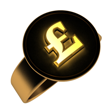 interrogative: British pound symbol over golden and black ring, 3d render, isolated over white Stock Photo