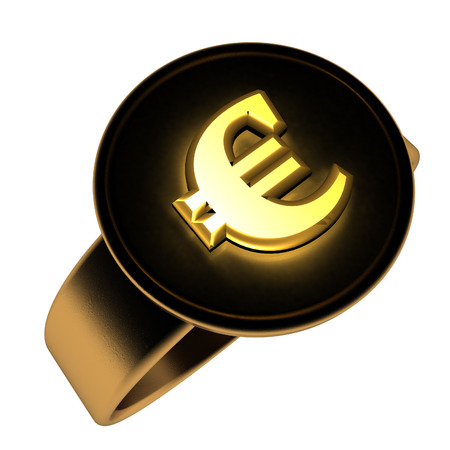 interrogative: Euro symbol over golden and black ring, 3d render, isolated over white, square image Stock Photo