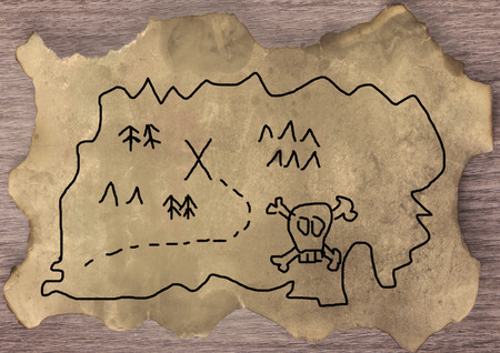 old parchment: Treasure map, hand made over old parchment
