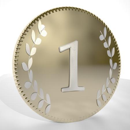 square image: Number1 over golden coin with laurel leaves, 3d render, square image