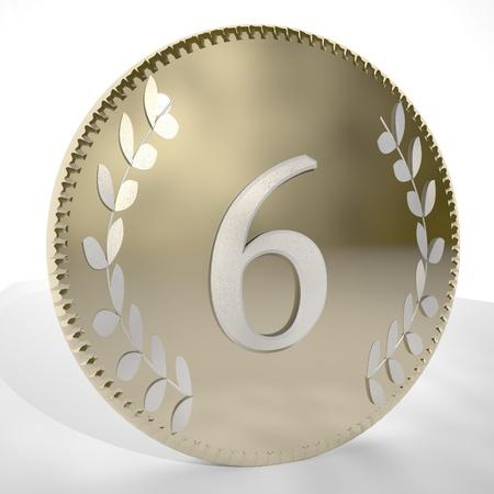 square image: Number 6 over golden coin with laurel leaves, 3d render, square image