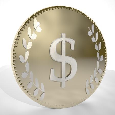 square image: Dollar symbol over golden coin, 3d render, square image