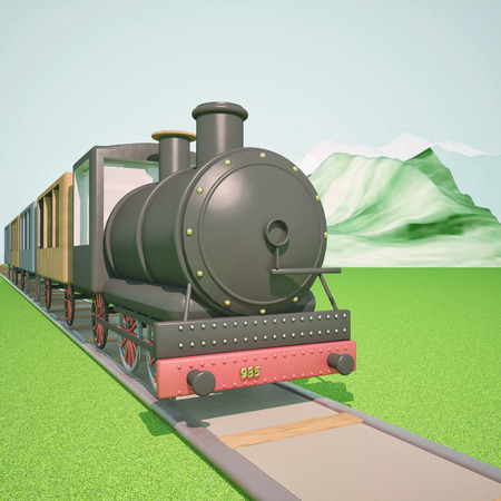 puffing: Steam train with mountains on the back, 3d render, square image