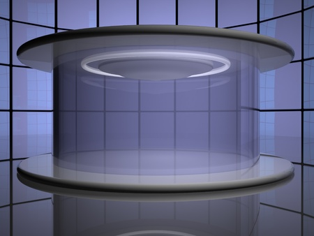 mirror on the wall: Teleportation capsule, with mirror wall on the back, 3d render, horizontal image