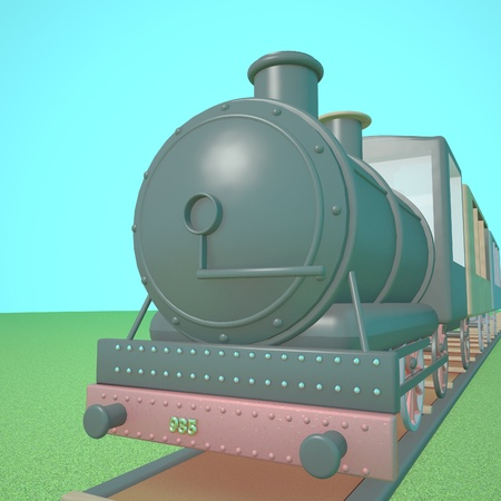 puffing: Steam train on a railway, blue sky, 3d render, square image