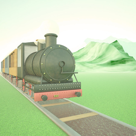 puffing: Steam train on a railway, with mountains on the back, 3d render, square image Stock Photo