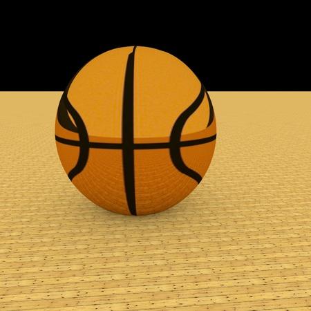 golden field: Golden basketball over parquet field, 3d render, square image Stock Photo