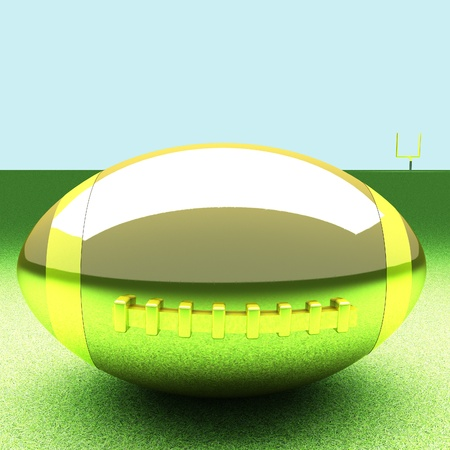 square image: Golden football over green grass field, 3d render, square image Stock Photo