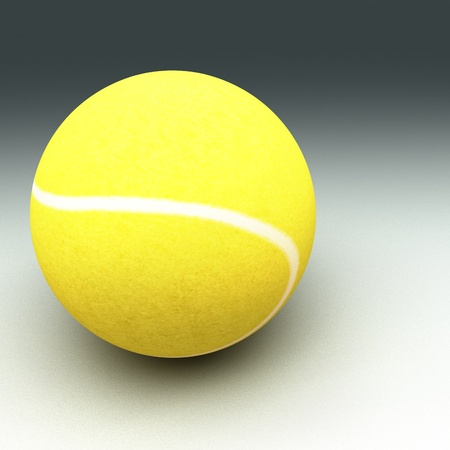 square image: Tennis ball over cement surface, square image, 3d render