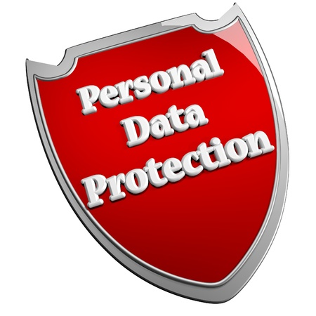 personal data: Personal data protection shield, over White background, 3d render, square image