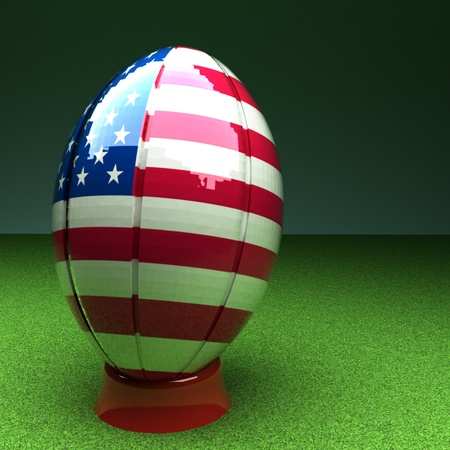 rugby field: Rugby ball with USA flag over green grass field, 3d render, square image