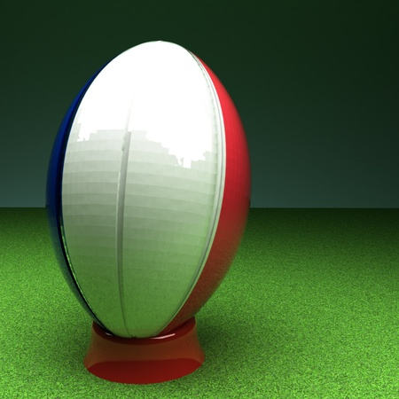 rugby field: Rugby ball with France flag over green grass field, 3d render, square image