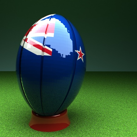 new zealand flag: Rugby ball with New Zealand flag over green grass field, 3d render, square image Stock Photo