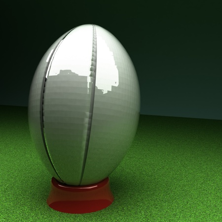 pelota rugby: Rugby ball over stand in a green grass field, 3d render, square image