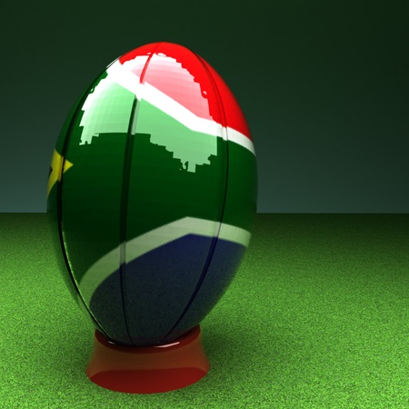 south africa flag: Rugby ball with South Africa flag over green grass field, 3d render, square image
