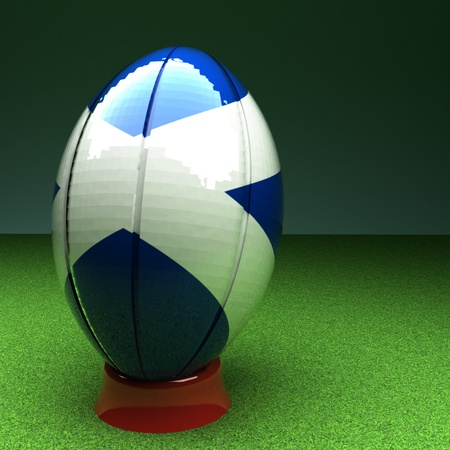 rugby field: Rugby ball with Scotland flag over green grass field, 3d render, square image Stock Photo