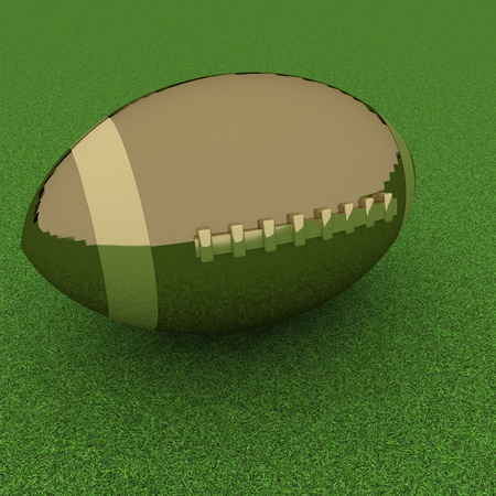 square image: Golden football over grass, 3d render, square image
