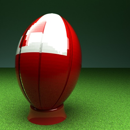 rugby field: Rugby ball with Tonga flag over green grass field, 3d render, square image