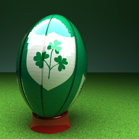 rugby: Rugby ball with Ireland flag over green grass field, 3d render, square image