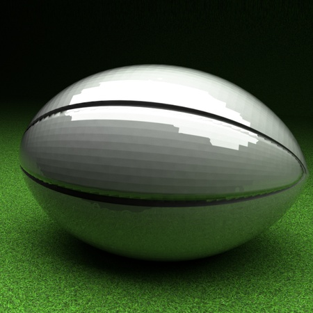rugby field: Rugby ball over green grass field, 3d render, square image Stock Photo