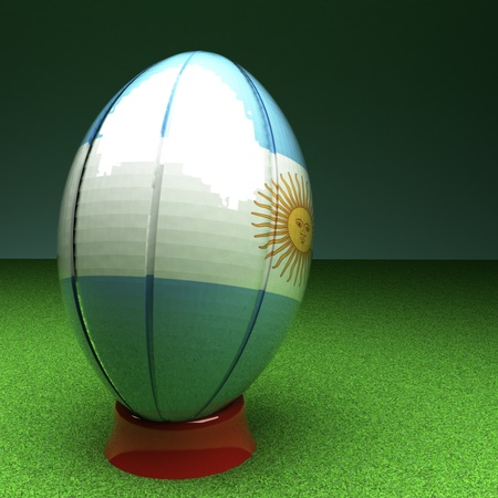 rugby field: Rugby ball with Argentina flag over green grass field, 3d render, square image Stock Photo