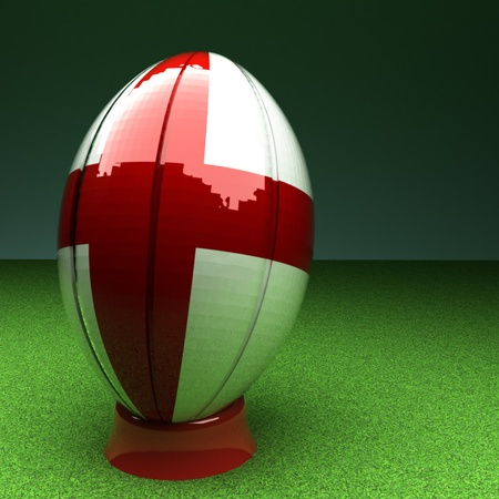rugby field: Rugby ball with England flag over green grass field, 3d render, square image