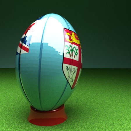 rugby field: Rugby ball with Fiji flag over green grass field, 3d render, square image