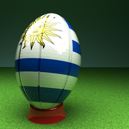 rugby field: Rugby ball with Uruguay flag over green grass field, 3d render, square image