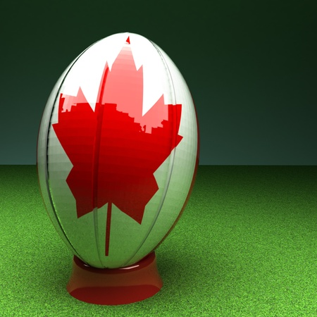 rugby field: Rugby ball with Canada flag over green grass field, 3d render, square image Stock Photo
