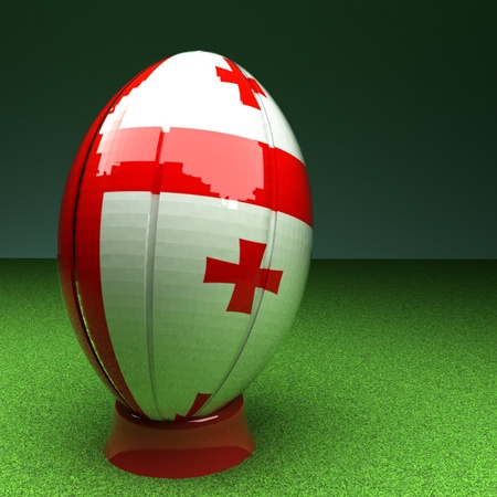 rugby field: Rugby ball with Georgia flag over green grass field, 3d render, square image Stock Photo