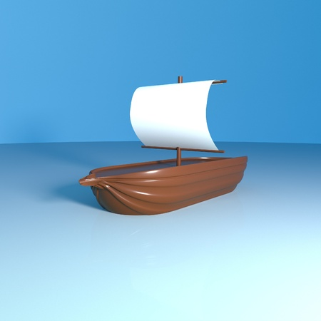 square image: Wooden ship over the sea, 3d render, square image