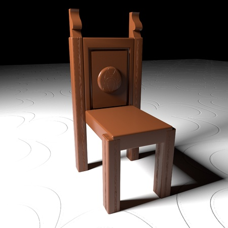 Wooden char over decorated floor, 3d render, square image