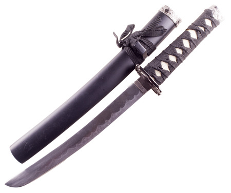 scabbard: Katana with black scabbard, isolated over white, horizontal image