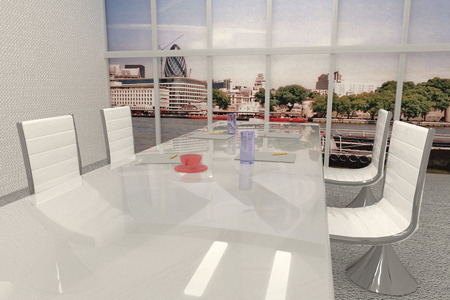 papeles oficina: Meeting room with window over London landscape original photo is mine, 3d render, horizontal image