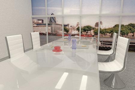 ejecutivo en oficina: Sala de reuniones con ventana sobre Londres paisaje original de la foto es mía, 3d, horizontal de la imagen
