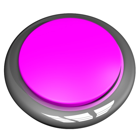 square image: Pink button isolated over White, 3d render, square image