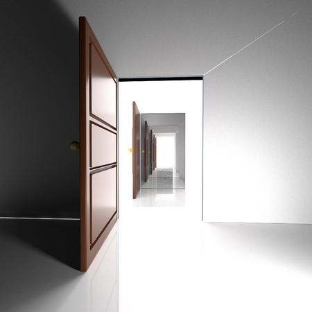 consecutive: Consecutive doors leading to White light, 3d render, square image