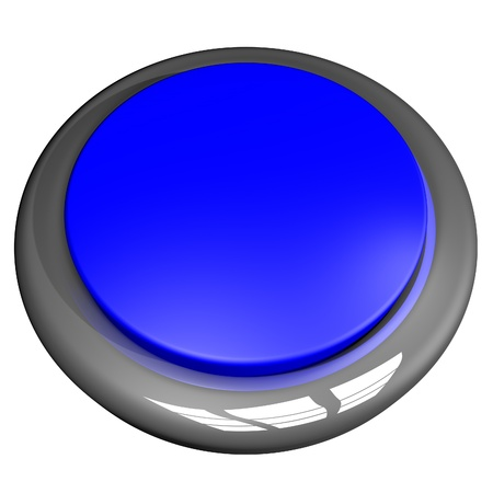 square image: Blue button isolated over White, 3d render, square image